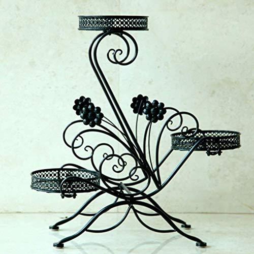 IU Desert Rose Étagère de balcon Étagère de support de plante de fer de support de fleur tient le pot de 3 fleurs pour l'assemblage d'intérieur de balcon de salon (62 * 25 * 69cm) (Couleur : Black)
