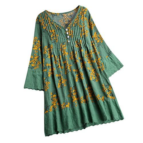 COCODE Frauen Leinen Casual Printed Langarmhemd Bluse Button Down TopsDamen Langarmhemd Aus Baumwolle Und Leinen Mit V-Ausschnitt Weste (Frau Steelers Jersey)