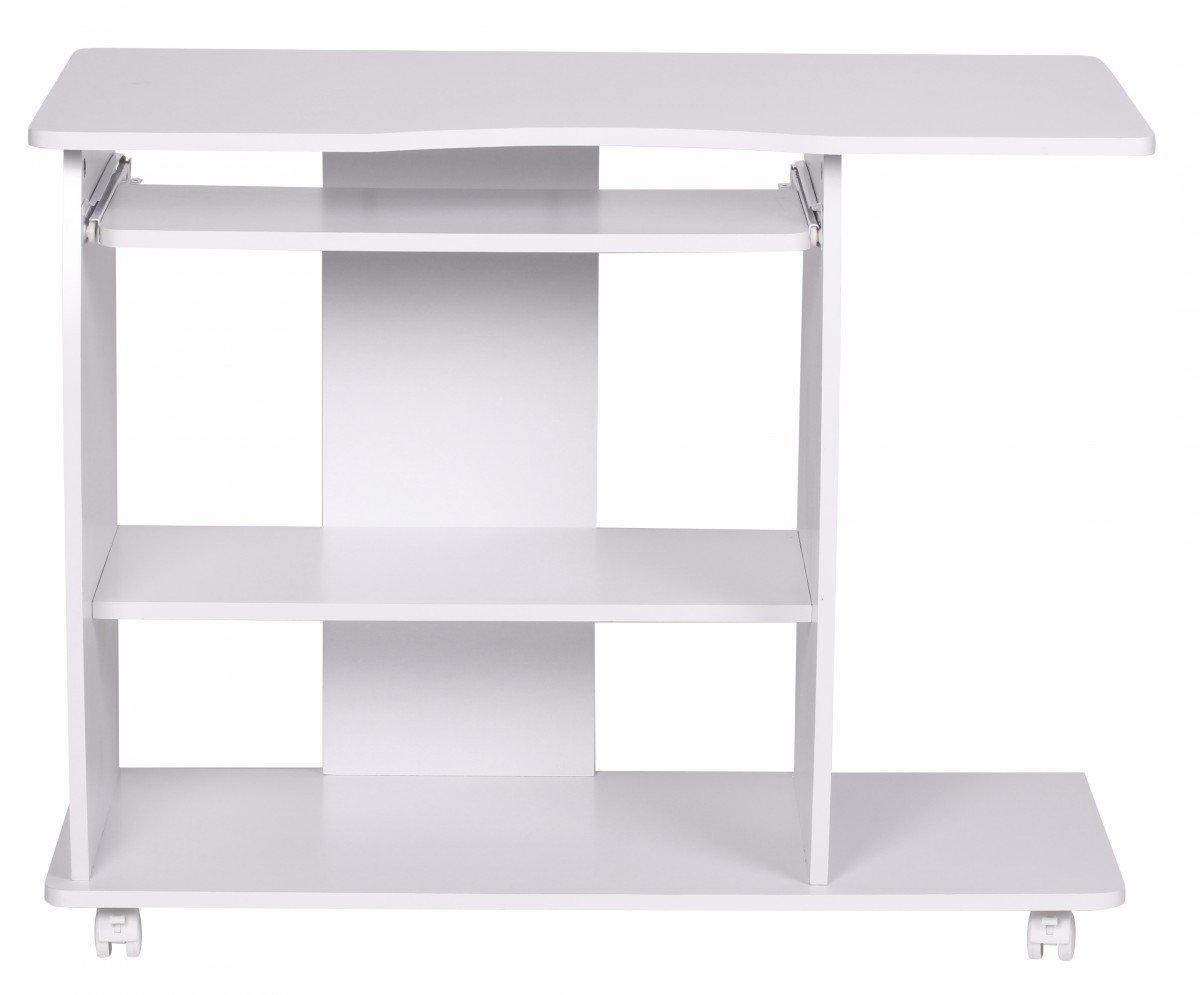FineBuy Computertisch DAVID Rollbar Weiß 90 X 71 X 50 Cm Mit Tastaturauszug  | Laptop Tisch Auf Feststellbaren Rollen | PC Tisch Mit Drucker Ablage ...