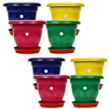 #5: Gamla/Planter/Pot 10 - inch (set of 8 colourful pots) with round plastic plant saucer/bottom plate 6-inch (set of 8pcs) (colour may vary) for Garden Balcony Flowering Pot by Kraft Seeds