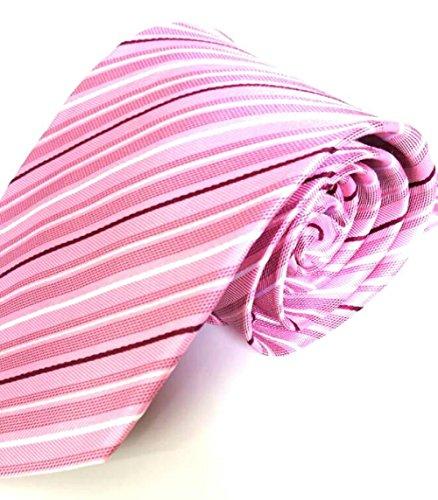 Moderne elegante Designer Herren Krawatte rosa weiß gestreift 10cm Seide 100% Silk Tie Handmade (Weiß-gestreift Seide Handgemachte Krawatte)