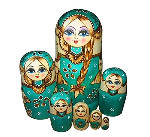 Price comparison product image ANKKO 7pcs Handmade Wooden Nesting Dolls Matryoshka Russian Doll, Green
