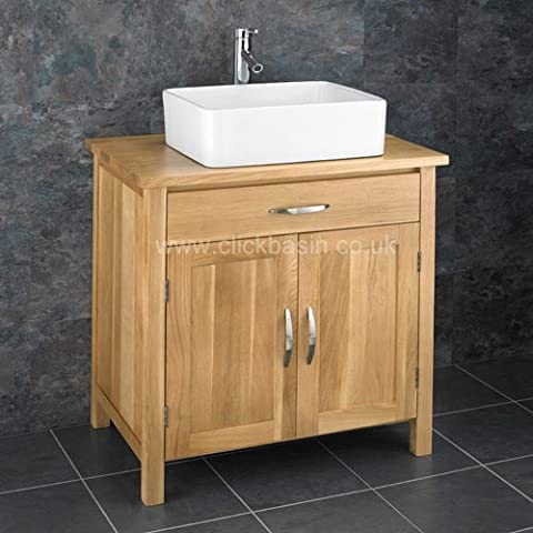 Clickbasin 75cm Wide Two Door Ohio Natural Solid Oak Bathroom Cabinet And Basin by Clickbasin