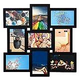 Trendn. Up Hochwertiger Bilderrahmen Collage Set für 9 Fotos - 10x15 groß in Schwarz, Fotocollage aus Holz mit Glas