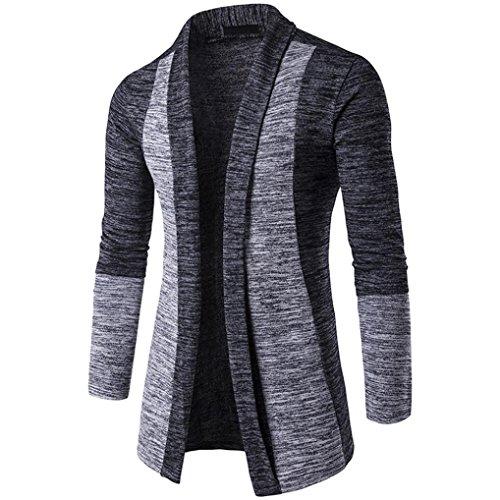 Hoodie Mantel Herren Sunday Herren Herbst Winter Pullover Strickjacke Strick Cool Mantel Mode Lange Sweatshirt (Dunkelgrau, XL)