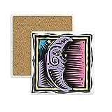 DIYthinker Lila Mond-Sterne Mexicon Element Gravieren Platz Coaster-Schalen-Becher-Halter Absorbent Stein für Getränke 2ST Geschenk Mehrfarbig