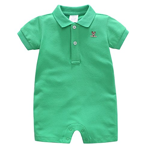 Vine Baby Spieler Polo Kurzarm-Body Sommer Spielanzug Strampelanzug mit Kurzen Beinen Baumwolle Strampler 3-6 Monate