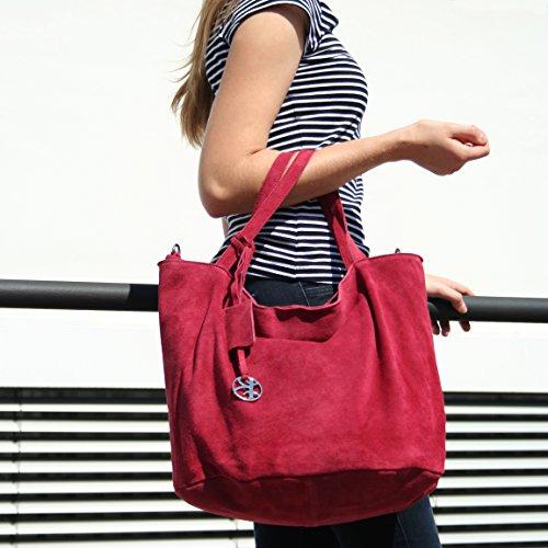 BACCINI borsa a spalla SELMA - sacchetto - Borsa da donna vera pelle rossobordeaux (55 x 31 x 23 cm)