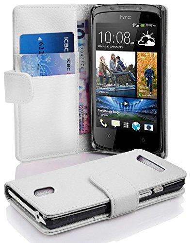 Cadorabo Hülle für HTC Desire 500 Hülle in Handyhülle mit Kartenfach aus Struktriertem Kunstleder Case Cover Schutzhülle Etui Tasche Book Klapp Style Magnesium Weiß