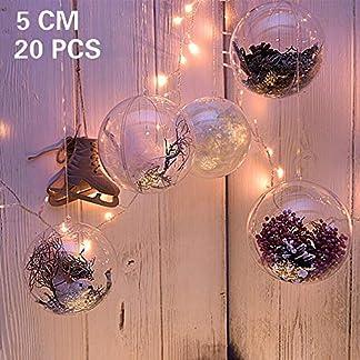 Kranich Árbol de Navidad 20Unidades de Bola, Transparente Bolas de Navidad, árbol de Navidad Adornos, DIY Bolas como decoración Colgante, Regalo para Navidad, Boda, Fiesta etc.