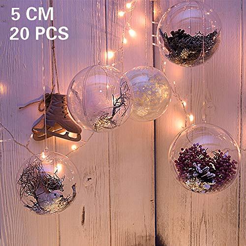 20 x Bolas de Navidad Forma redonda Plástico transparente para decorar el arbol de navidad (5cm) no incluye cuerda ...