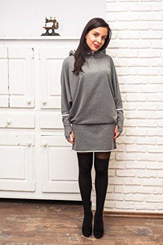 Damen Sportliches Elegant Kleid, Farbe Grau, Damen Kleid Mit Kapuze, Lange Ärmel, 100% Baumwolle, L-Größe -