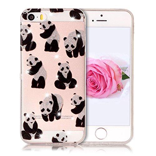 Coque iPhone 5 / 5S / SE, SpiritSun Clair Transparente Etui Coque en Silicone pour iPhone 5 / 5S / SE (4.0 pouces) Flexible TPU Housse Etui Souple Silicone Etui Coque de Protection Mince Légère Etui T Panda