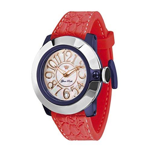 Glam Rock Women's Sobe 44mm Red Silicone Band IP Steel Case Swiss Quartz White Dial Analog Watch GR32031B