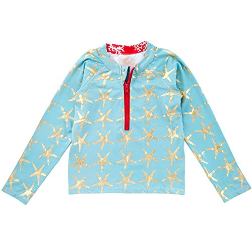 Masala Kids Girl's Rashguard Long Sleeve Starfish Turquoise Rash Guard Shirt
