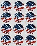 12 USA Amerikanischer Fahne reispapier märchen / cup cake 40mm toppers vorgestanzt dekoration Gefertigt By Simply Topps