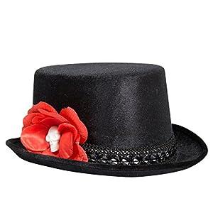 Sombrero de Adulto Negro con Rosa y Calavera Accesorios Halloween