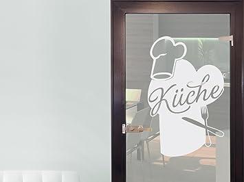 Glasdekor Glastür Aufkleber Fensterfolie Für Küche Kochmützen Besteck  (63x40cm)