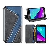 MOBESV Smiley Samsung Galaxy XCover 4 Hülle Leder, Samsung XCover 4 Tasche Lederhülle/Wallet Case/Ledertasche Handyhülle/Schutzhülle für Samsung Galaxy XCover 4, Schwarz/Dunkel Blau