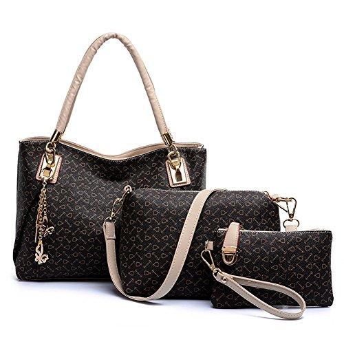 Oderola 3-teiliges Damen Handtaschenset Elegant Leder Handtaschen Schulter Beuteltote Schultaschen Hobo Set (0 Hobo)