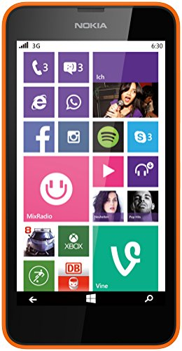 Nokia Lumia 630 Single-SIM Smartphone (4,5 Zoll (11,4 cm) Touch-Display, 8 GB Speicher, Windows 8.1) orange (Phone Nokia Windows 8)