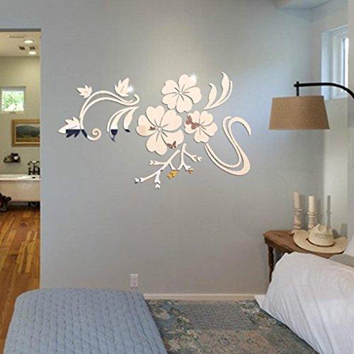 Wandaufkleber erthome 3D Spiegel Blumenkunst Wandaufkleber Wandbild Aufkleber Home Room Decor Removable (Silber, 40 X 60cm)