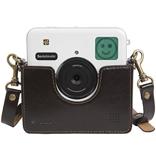 Cradle personalizzato stile vintage in vera pelle per Polaroid Socialmatic - Tracolla rimovibile inclusa - Marrone