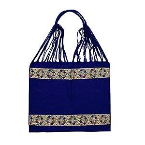 Einkaufstasche Boho San Angel 'blau'; Handgewebt, Handtasche, HANDARBEIT, Tasche, Geschenkidee für Frauen