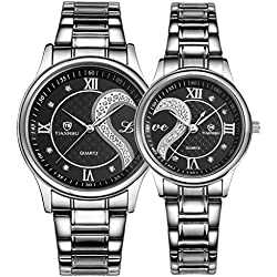 OOFIT His and Hers Matching Watches - Stainless Steel Couple Watch Set