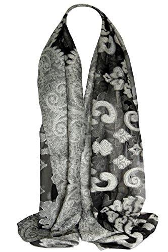 Floral bordé Organza soyeux en relief écharpe écharpe châle Etole foulards de tête de Hijab Blanc Noir