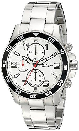 Stuhrling Original - Concorso - 985.01 - Montre bracelet - Quartz - Affichage - Analogique - Bracelet - Acier inoxydable - Argent - Cadran - Blanc - Homme