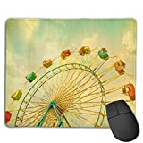 Mouse Pad Ferris Wheel Oil Painting Rectangle Rubber Mousepad 8.66 X 7.09 Inch Gaming Mouse Pad with Black Lock Edge