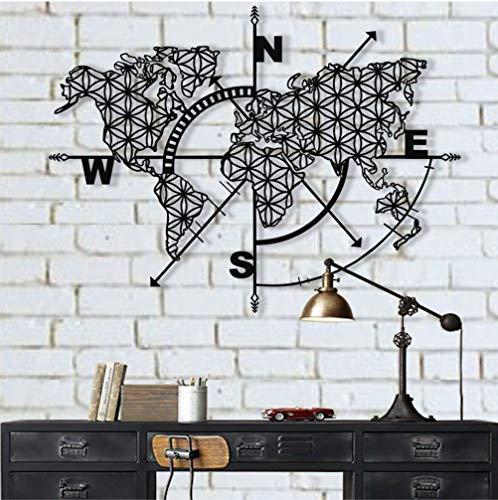 DEKADRON Metall Weltkarte Wandkunst Kompass, Metall Wanddeko Kunst Arbeit Metallschild Wandkunst Metall Kunst Wanddeko Carte du Monde Weltkarte 40
