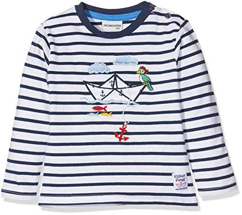 SALT AND PEPPER Baby-Jungen Langarmshirt B Longsleeve Pirat Stripe Blau (Classic Blue 486), 74 (Piraten-baby)
