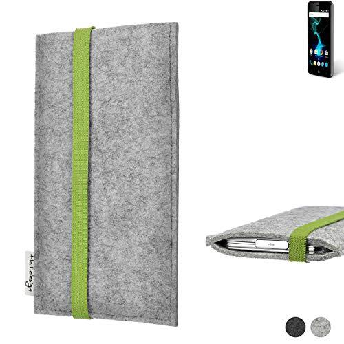flat.design Handy Hülle Coimbra für Allview P6 Pro maßgefertigte Handytasche Filz Tasche fair grün hellgrau