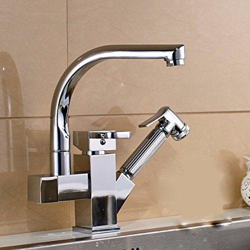 sdkir-double acqua rame rubinetto della cucina Pull telescopica lavello rubinetto lavabo acqua fredda e calda Brass body
