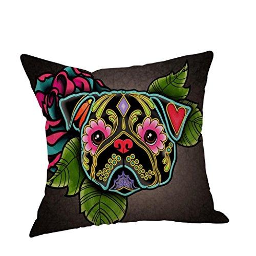 Clearance! Kavitoz Dog Cotton Linen Cushion Cover Sofa Throw Pillow Case Home Decor 45cmx45cm