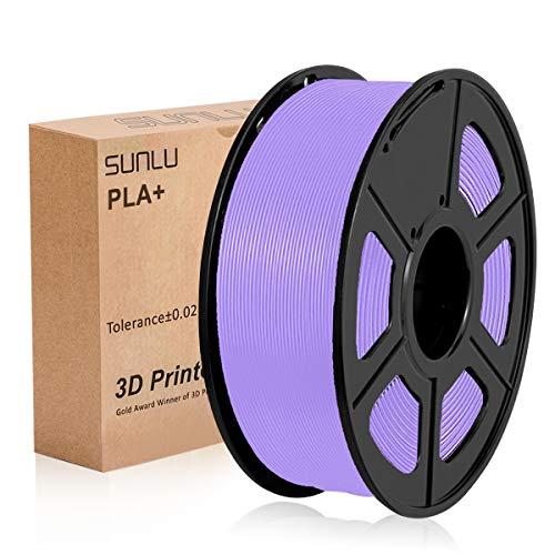 SUNLU PLA Plus Viola, filamento PLA Plus 1,75 mm, Precisione dimensionale con odore basso +/- 0,02 mm, Filamento per stampa 3D, bobina 2,2 LBS (1 KG) per stampanti 3D e penne 3D, Viola