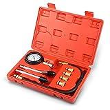 VETOMILE Coffret de compressiomètre Set de compresseur Testeur de compression pour tous moteurs Deux modes de test: Bar et PSI - Noir