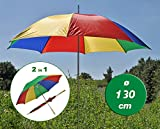 Sonnenschirm Regenschirm Strandschirm Schirm bunt mit Ständer und Griff 130cm Ø