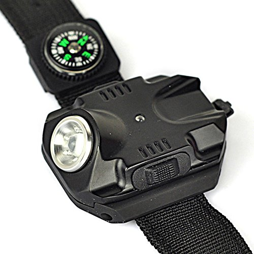 WNOSH Outdoor Acitvities Wirst Compass Rechargeable T6 LED Wrist Flashlight Watch LED Compass Torch Light with Waterproof
