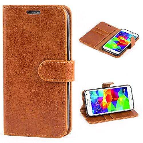 Mulbess Custodia per Samsung Galaxy S5, Cover Samsung Galaxy S5 Pelle, Flip Cover a Libro, Custodia Portafoglio per Samsung Galaxy S5 Neo, Cognac Marrone
