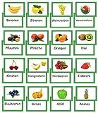 LYSCO® Bildkarten Obst Vokabel Lernkarten beidseitig Folienkaschiert, 16 Stück