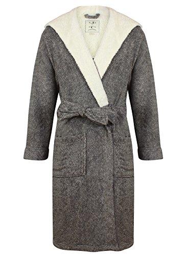 Robe de Chambre en Polaire Doux à Capuche, Chaud, Gris Chiné - Homme (M)