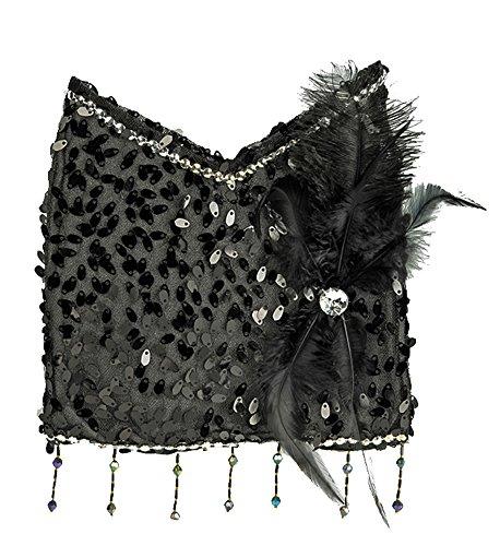 Charleston Täschchen Handtasche Schwarz - Tolles Accessoire zu Kostümen der 20er 30er Jahre oder - Schwarz Und Weißen Pailletten Flapper Kostüm