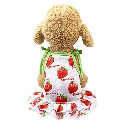 ZZQ Fruit Summer Pet Dog Clothes Dog Dress Coppia Pet Gonne per Cani Animali Abbigliamento Cani Cucciolo Vestiti per Gatti,1,L
