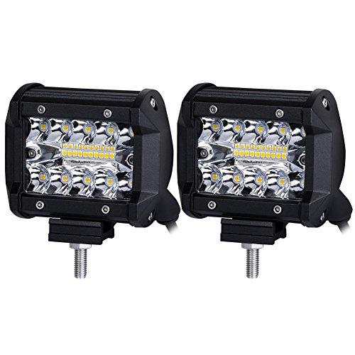 JAYLONG 4 Pouces 2 Pack 18W LED lumières, LED Travail lumière Bar Spot Lampe Offroad 4WD SUV Camion Bateau, IP67 projecteur de Conduite Spot Faisceau Lampe 12V 24V DC