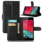 ECENCE Handy-Schutzhülle - Handytasche für Wiko Pulp Schwarz - Smarthone Case Cover stoßfest mit Kartenfach - Handycase mit Stand-Funktion 24010209