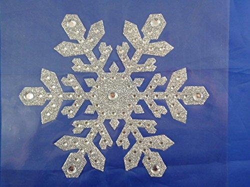 8 Zoll Große Silber-Glitter-Schneeflocke-Fenster-Aufkleber für Tiefkühl - Thema Gefroren Schneeflocken