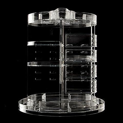 JINPENG transparent 360 ° pivotant cosmétiques boîte de rangement de soins de la peau Bureau de bijouterie salle de bain grande étagère